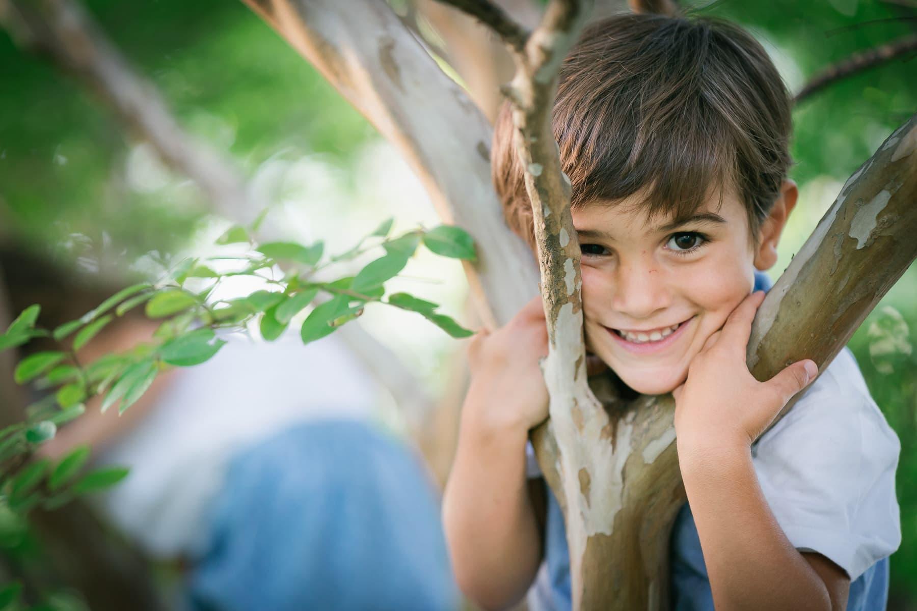 Familienfotograf Lörrach Freiburg Junge kletter im Baum